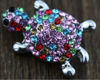Silver Turtle Covered with Multi-Colored Stones