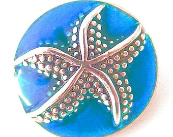 KB6311  Caribbean Blue Iridescent Charm With Silver Starfish!