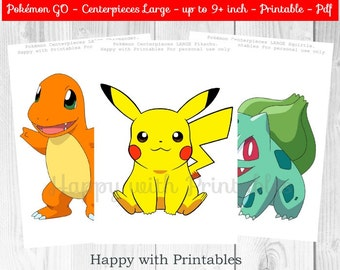 Pokemon GO Centerpieces - Pokemon Centerpieces - Pokemon GO - Pikachu Centerpieces - Eevee Centerpieces - Pokemon party - Pokémon printable