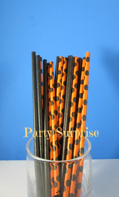 Halloween Straws Orange and Black Straws Halloween Party College ...