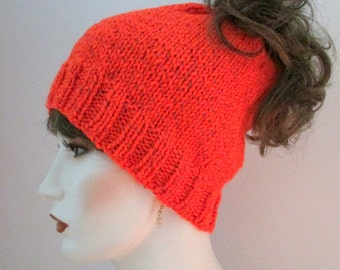 Orange reflective hat, pony tail hat, runners hat, exercise hat, all season hat, woman or teen hat, mélange beanie