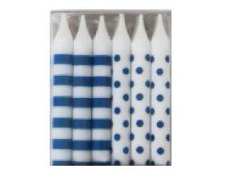 Dots & Stripes Birthday Candles Navy Blue 12pc