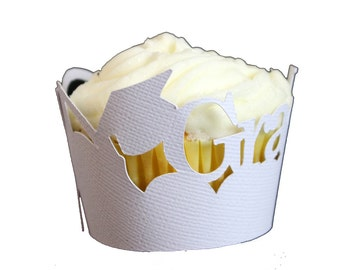 White Graduate Cupcake Wrappers, Set of 12, Graduation, White Cupcake Wrappers, Handcrafted Party Decor, Party supplies, Cupcake Decor