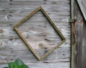 Reduced!!! Vintage Wooden and Gesso Gold Frame