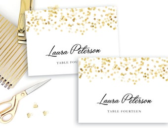 Printable Place Card Template, Gold Confetti Place Cards - INSTANT DOWNLOAD, Editable Text Microsoft Word, Folded and Flat Place Card