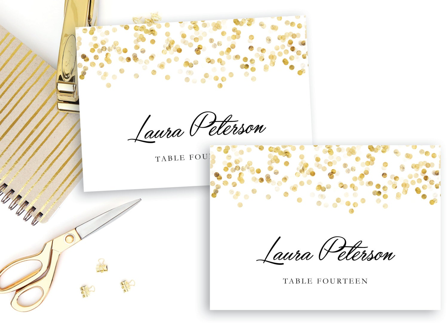 printable place card template gold confetti place cards