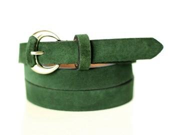 Free shipping! Green leather belt, dark green belt, suede belt, womans belt, waist belt, green suede belt, green narrow belt