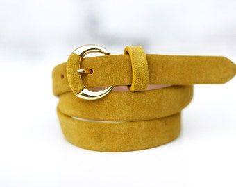 Free shipping! Leather belt, womans belt, yellow belt, belt for dress, suede belt, waist belt, fashion belt, leather waist belt
