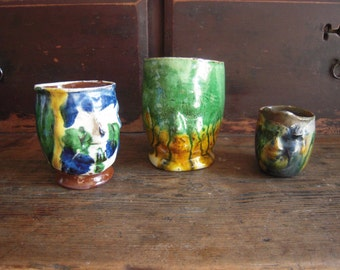 Set Vintage Mexican Face Pitchers Pottery Three