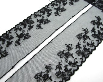 2 Yards 2 3/4 Inches Wide Lace|Black|Floral|Embroidered Lace Trim|Bridal Wedding Materials|Clothing Ribbon|Hairband|Accessories DIY