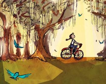 Morning Ride // Down South Bike Ride Art Print