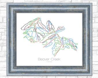 Framed Beaver Creek Colorado - Modern Ski Trail Map - Line Drawing
