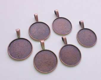 6 x Antique Copper Round Bezel Cabachon Setting Pendants 37mm