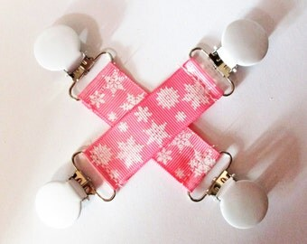Pink & White Snowflake Mitten Clips or Short Pacifier Clips Grosgrain ribbon Mitten Clips