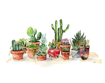 """Potted Succulents Painting - Watercolor Print titled, """"Potted Plants"""", Succulent, Cactus Print, Botanical, Succulent Plants, Painting, Print"""