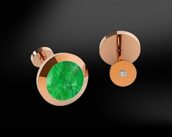 JADE & DIAMONDS GOLD Round Cufflinks