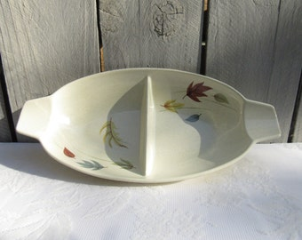 Franciscan Gladding Mc Bean divided dish, Atumn leaves Franciscan handled dish, 1960s Thanksgiving dishware, Fall leaves table decor