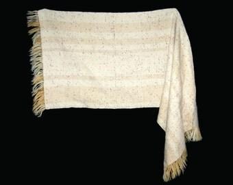 Vintage warm wool shawl, Handwoven in Finland