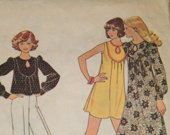 UNCUT Vintage 70s Pattern - McCall's 4521 - Misses' Dress or Top - Size Small - 10-12