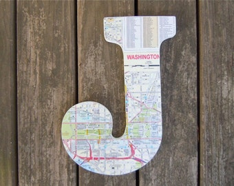 3D Map Letters - Map Covered Letter - Alphabet Letter  - Map Alphabet - Customized Map Gift - Wedding Gift - Gallery Wall Decor