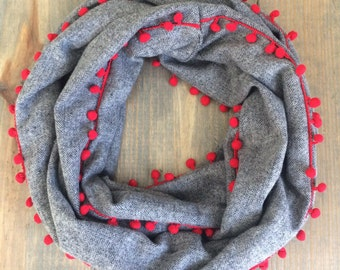 RESERVED-Charcoal with Red PomPom Trim Infinity Scarf