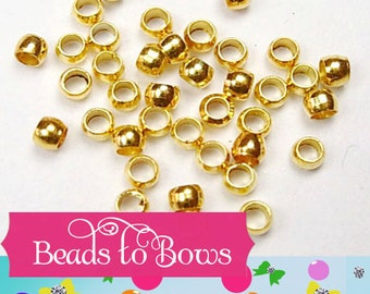 200 Gold Crimp Beads, 1.25 Crimping Beads, 2mm Diameter, Crimp Bead Barrel Bead, Necklace Supply,  Beading Supply, Small Gold Crimp Bead