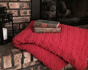 Chunky Red Crocheted Afghan Throw Blanket