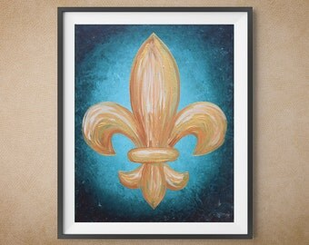 Digital Art Print, Fleur De Lis, Teal and Gold, Multiple Sizes Available
