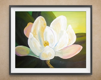 Digital Art Print, Magnolia Flower, Ivory and Green, Multiple Sizes Available