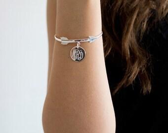 Monogrammed Silver Arrow Bangle Bracelet