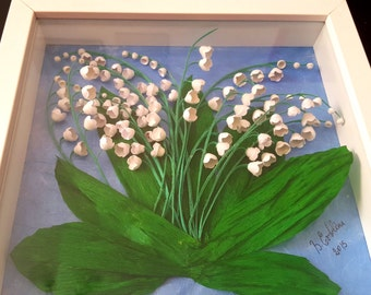 Three-dimensional framework quilling-lilies of the Valley (frame included)