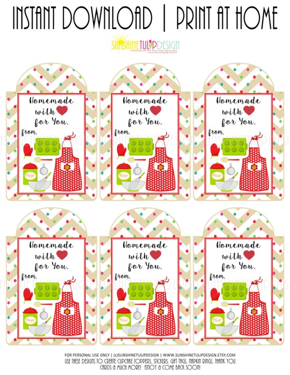 Printable baked goods homemade with love gift tags sticker printable baked goods homemade with love gift tags sticker labels by sunshinetulipdesign negle Gallery