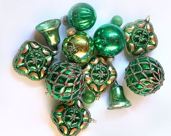 Vtg Christmas Ornaments Glass and Plastic Green Theme Lot of 13