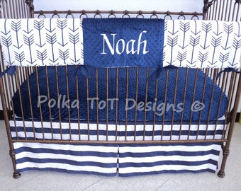Baby Bedding 3 piece set Navy & White Arrows:  Bumperless Fletching bedding set
