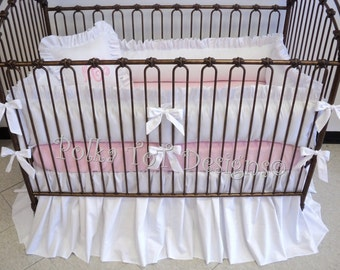 Gender Neutral White Baby Bedding : Sheet & Monogram  shown as pink but can be changed to virtually any color. See Item Details for options