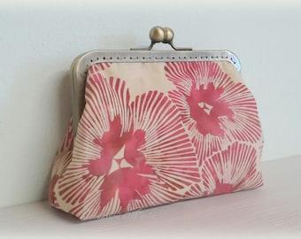 Batik fabric purse with flower
