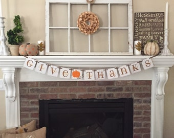 Thanksgiving Decor • Give Thanks • Fall Decor • Fall Decorations • Fall Banner • Fall leaves • Fall signs • Thanksgiving Decorations