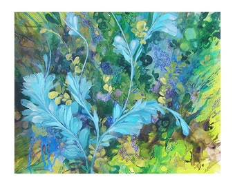 Abstract floral landscape  painting on paper