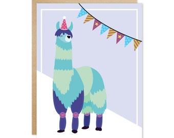 Handmade Blank Greeting Card – Pawty Animal Series (Blue Llama)