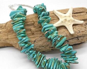 ALOHA SALE.... Turquoise Statement Necklace - Chunky Necklace, Statement, Turquoise, Beach Jewelry, Beach Wedding, Chunky Turquoise
