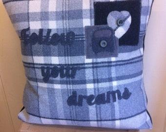 follow your dreams - wooly tartan campervan cushion