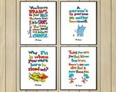 "Set of 4 Dr Seuss pictures, Instant Download, Dr Seuss Nursery decor, Cat in the Hat, Dr Seuss nursery pictures 8 x 10"""
