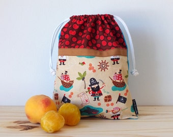 Pirates fabric bag for kids, lunch bag, reusable snack bag for school