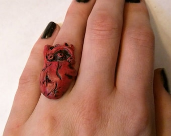Polymer Clay Anatomical Heart Ring Handpainted Statement Ring Adjustable Heart Ring for Nurses Horror Fans and Valentine's day