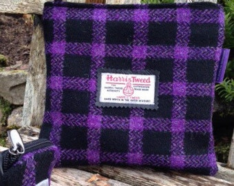 Small Harris Tweed and Real Leather Bag
