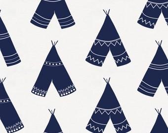 Navy Teepee Organic Fabric - By The Yard - Boy / Girl / Gender Neutral