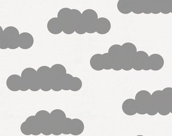 White and Gray Clouds Organic Fabric - By The Yard - Girl / Boy / Neutral
