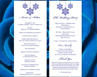 Snowflake Wedding Program Royal Blue Winter Wonderland Wedding Ceremony Order of Service Template DIY You Edit & Print All Colors for Order