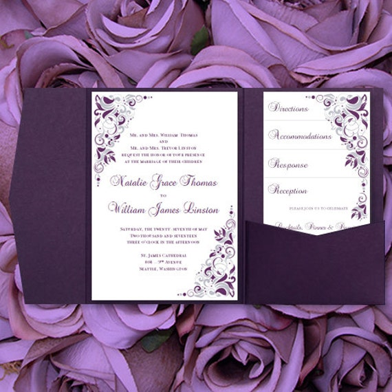 Diy pocketfold wedding invitations gianna eggplant diy pocketfold wedding invitations gianna eggplant purple silver printable word templates instant download order any 1 2 colors u print solutioingenieria Gallery