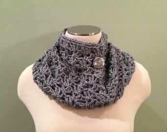 Scarf, women, infinity, cowl, button, soft acrylic yarn, gray, handmade, crochet, accessory, infinity cowl scarf